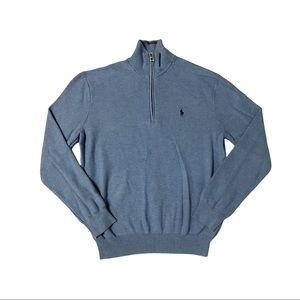POLO RALPH LAUREN Cotton Mesh Quarter Zip Blue Sweater Men's Size M